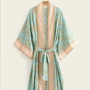 Tribal Floral Print Belted Kimono